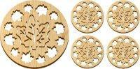 Wooden Maple Leaves Trivet and Coasters Gift Set [MLW-66625] Manufactures