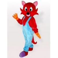 Red Fox in Blue Bib Overalls Adult Mascot Costume Manufactures