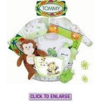 Rainforest Fun Personalized Baby Boy Gift Basket by Kara Nessian Manufactures