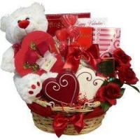 China Valentines Treasures Gourmet Food Gift Basket with Teddy Bear on sale