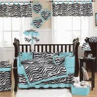 China Zebra Turquoise Baby Crib Bedding Set Zebra Turquoise Baby Crib Bedding Set on sale