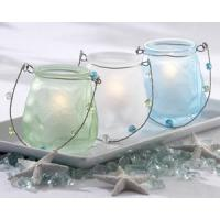 Sea Glass Luminary with Beaded Handle (Set of 3) Manufactures