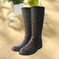 Elegant flowers printing rubber rain boot, woman knee boot