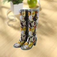 Sexy lady flower vase printing rubber rain boot Manufactures