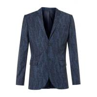 Blue Wool Blend Abstract Print Skinny Fit Suit Jacket Manufactures
