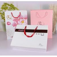 White matt gift paper bags with black hot foil stamping Manufactures