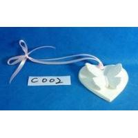 Cheap Heart shape plaster hanging ornament with butterfly decoration for sale
