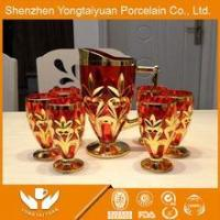 LUXURY ROYAL HIGH TECHNICAL GOLD PLATED RED GLASS WINE CUP