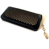 Black with Golden Lining PU Hollowed Checkbook Holder