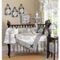 China Baby Girl Bedding Black French Toile on sale