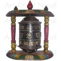Ritual Objects Metal Prayer's Wheel with Wooden Stand Manufactures