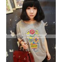 Vacation Fashionable Sunflower Printing Women T Shirt Manufactures