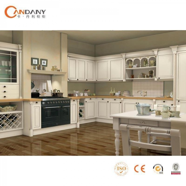 Quality French Taste Oak Wood Modern Kitchen Cabinet Beige Stained for sale