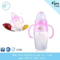 New Style Infant Baby 240ML Wide Neck Anti-microbial Silicone Feeding Bottle With Handles and Straw Manufactures
