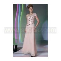 Foor length pink wedding party dress, sexy one shoulder prom dress Manufactures