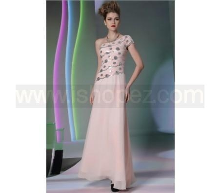 Quality Foor length pink wedding party dress, sexy one shoulder prom dress for sale
