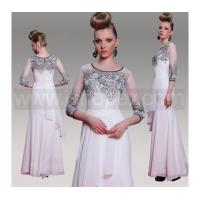 Grey Long Formal Wedding Party Dress Prom dress, 3/4-Length Sleeves Multi-level White Chiffon Manufactures