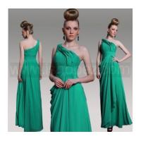 New Style Green One Shoulder Sleeveless Prom Dress, Evening dress With Beaded & Pleat Manufactures
