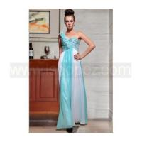 New arrival blue white one shoulder long sequin prom dress Manufactures