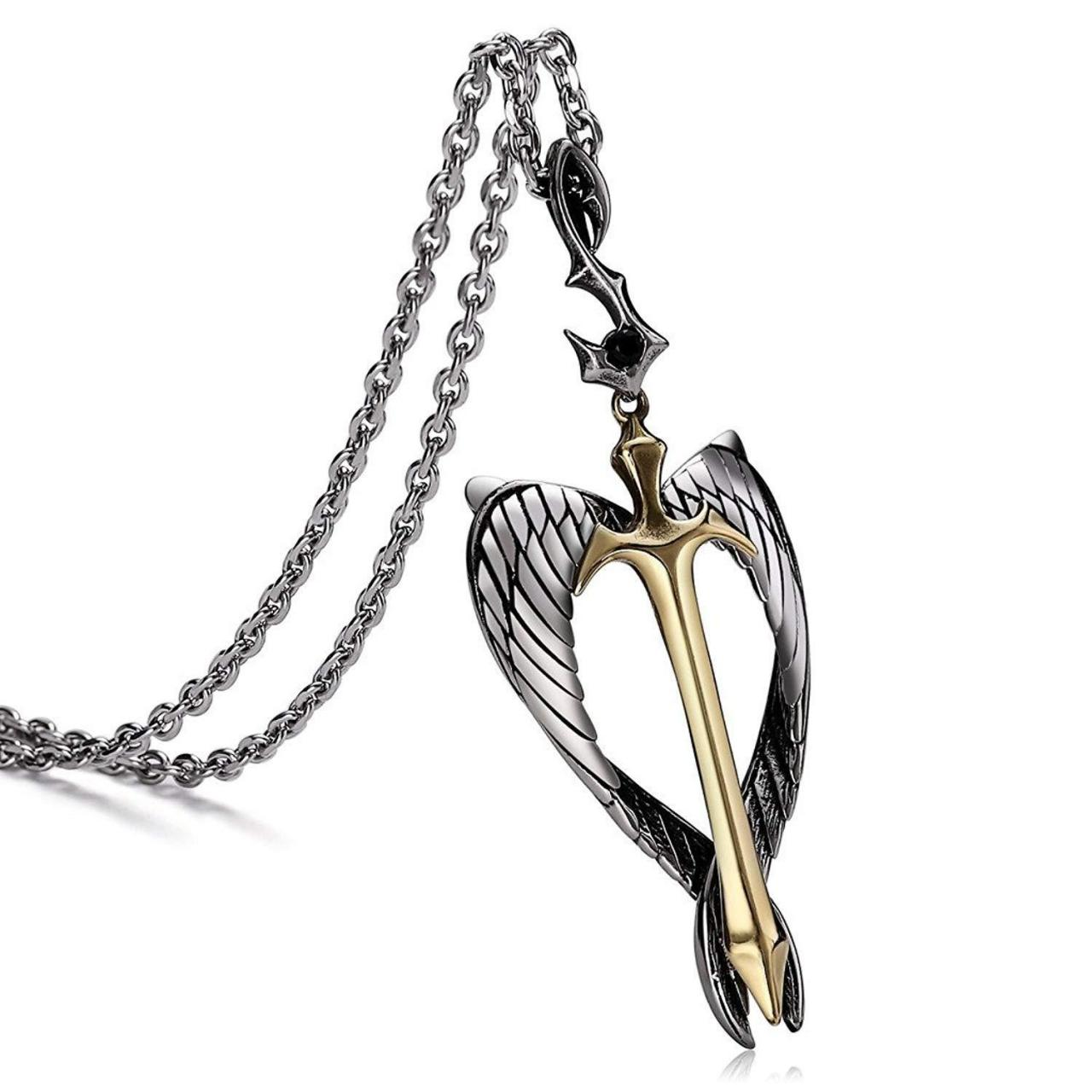 2018 Discount Aienid Cr el Angel Wing Sword Pendant for Men Chain 93438 Manufactures