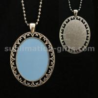 Photo Heat Transfer Pendant Long Necklace Sublimation Blanks Sweater Chain For Apperal Accessories Manufactures