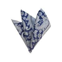 HD-41 | Silver, White And Blue Paisley Woven Handkerchief Manufactures