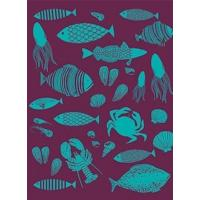 Office-Travel French Artists Club - Kitchen Woven Towel- Fishing Manufactures