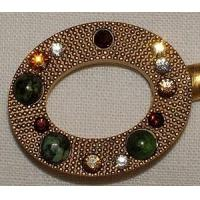 Gadgets & Tools Purse Hanger - Gold Oval with Ruby Ziosite and Swarovski Crystals Manufactures