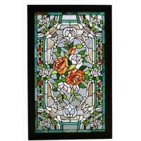 STAINED GLASS WINDOW SL041-square stained and leaded beveled glass wind...