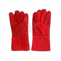14inch high quality red color leather welding gloves Manufactures