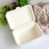biodegradable foodware sugarcane hinged lid burger box food container Manufactures